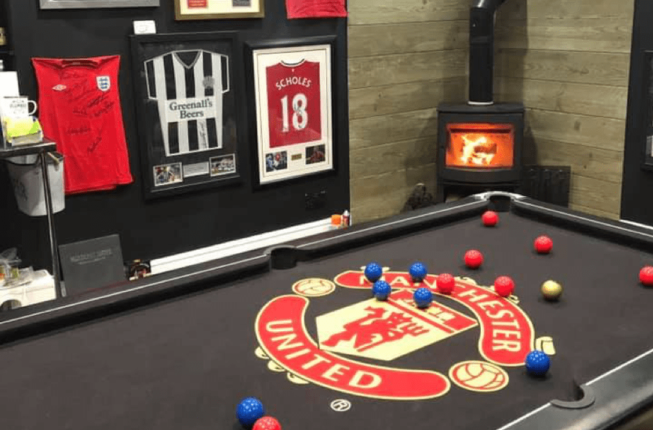 games room fireplace