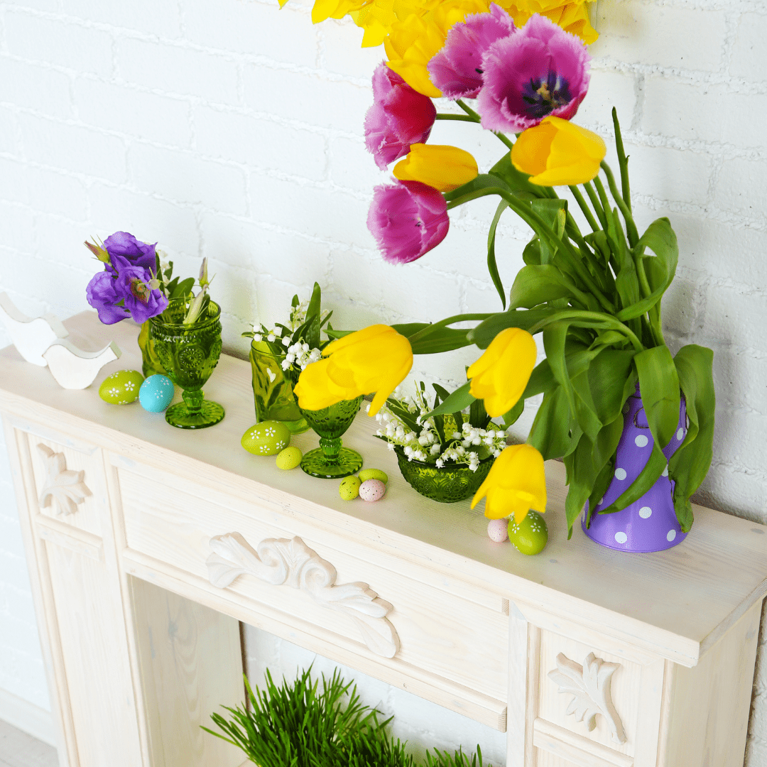 Easter flowers in fireplace surround